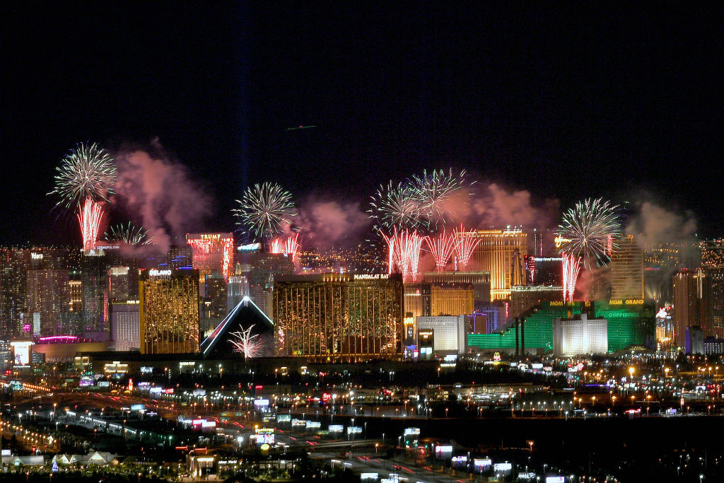 Fireworks illuminate the skyline over the Las Vegas Strip during an eight-minute-long pyrotechnics show put on by Fireworks by Grucci titled  America