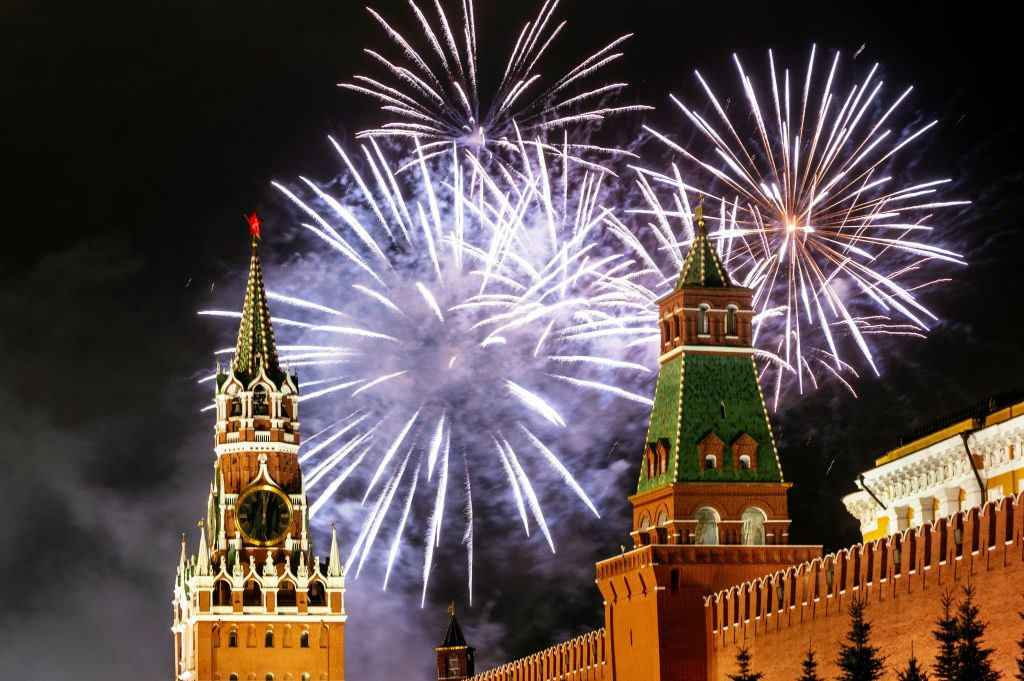 Fireworks explode over the Kremlin in Moscow during New Year celebrations, on January 1, 2020.