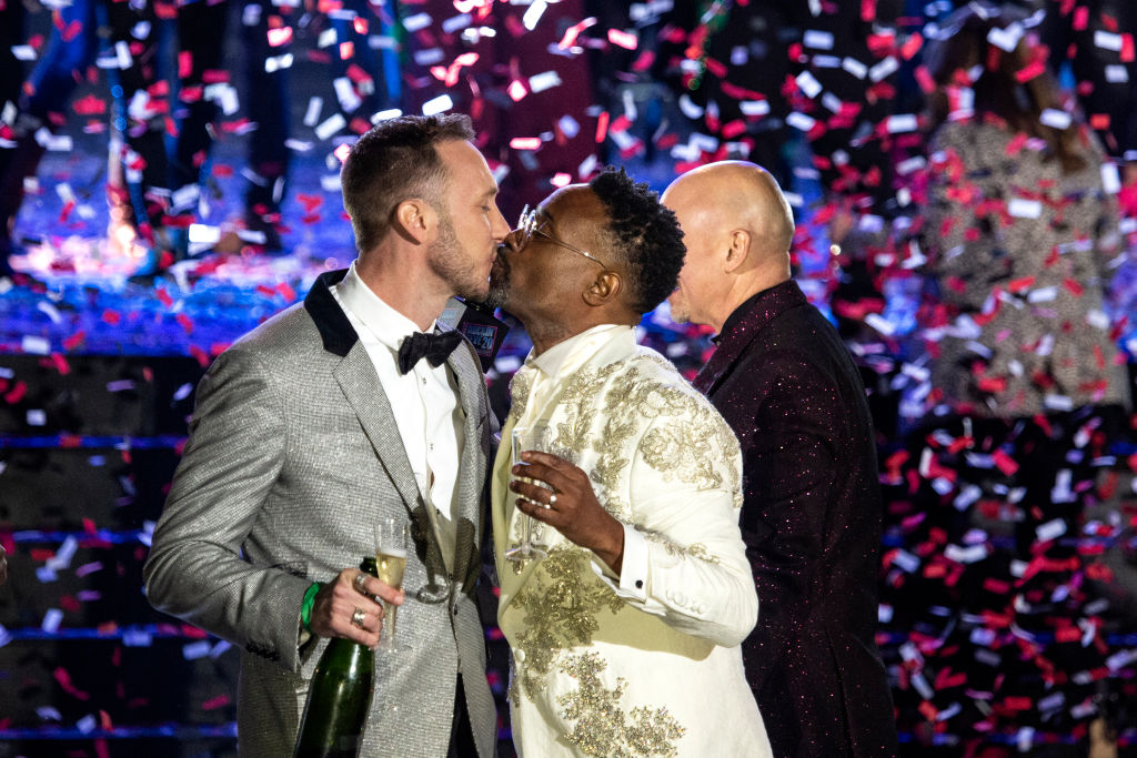 Billy Porter and Adam Porter-Smith celebrate onstage during Dick Clark