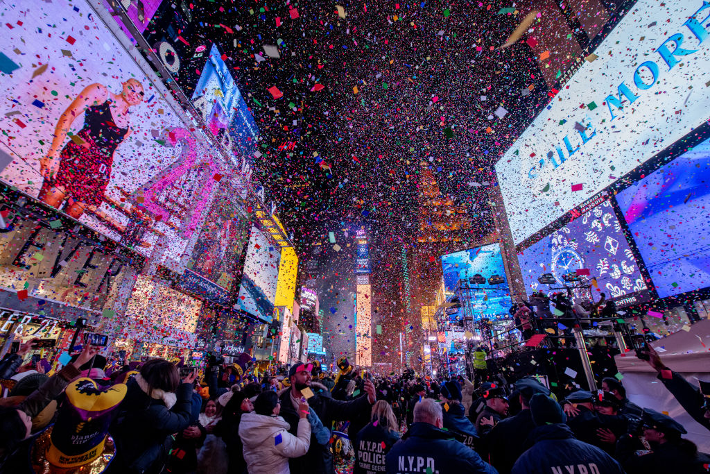 The ball drops during the 2020 New Year Celebration on December 31, 2019 in New York City.