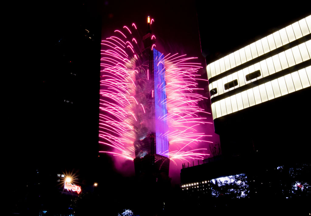 Fireworks light up the Taiwan skyline and Taipei 101 during New Years Eve celebrations on January 01, 2020 in Taipei, Taiwan.