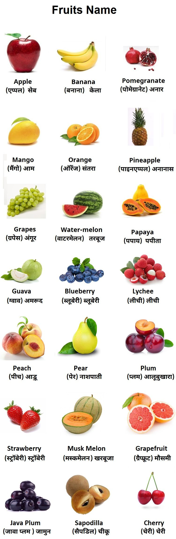 All fruits with its image - Apple, Banana, Pomergenate, Mango, Organge, Pineapple,Grapes, Watermelon,..