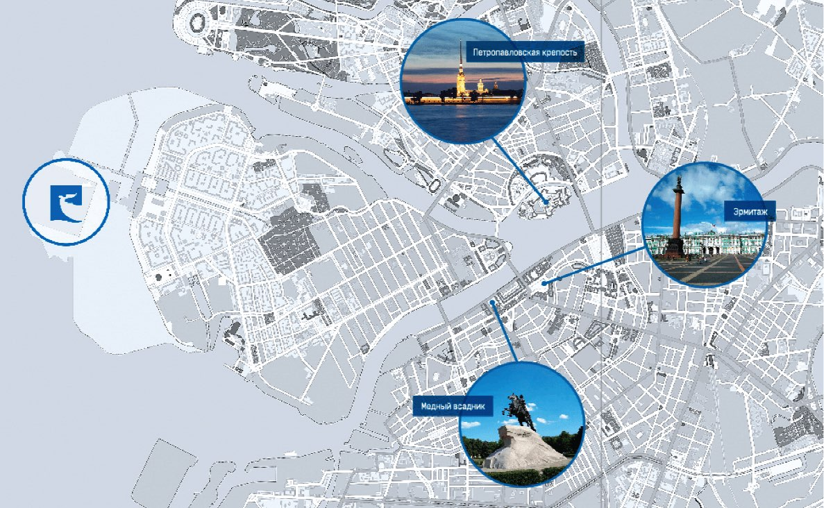 Map Saint Petersburg and port
